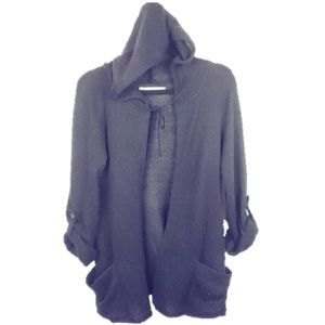 Rubbish open front hoodie sweater roll up sleeve